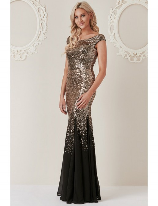 91f1e9fd Stephanie Pratt – Sequin and Chiffon Maxi Dress in Black/gold ~ long  sleeveless prom