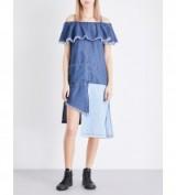 STEVE J & YONI P Cold shoulder patchwork denim dress