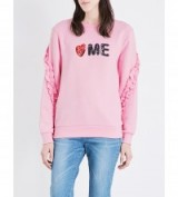 STEVE J & YONI P Love Me frill-detail cotton-jersey sweatshirt. Pink sweatshirts   casual ruffle tops