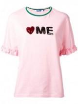 STEVE J & YONI P slogan T-shirt. Pink tee   love me t-shirts   ruffle sleeve tees   embellished casual tops