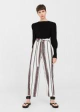 MANGO Striped cotton trousers ~ wide leg stripe print pants ~ summer fashion