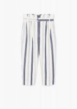 MANGO Striped linen-blend trousers ~ blur stripe crop leg pants ~ cropped ~ summer fashion