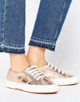 Superga 2750 Metallic Trainers Pink. Sneakers | sports luxe | casual flat shoes | flats
