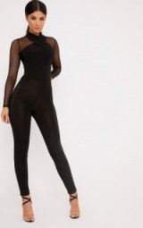 TINA BLACK SLINKY CROSS FRONT JUMPSUIT ~ semi sheer going out fashion ~ long sleeve fitted jumpsuits