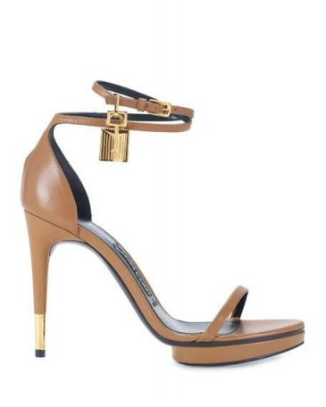 TOM FORD Platform Ankle-Lock 105mm Sandal in Brown Leather ~ barely there sandals ~ strappy high heels ~ designer shoes - flipped