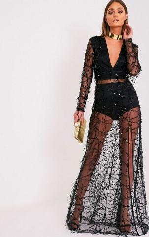 valentina black premium sequin long sleeve maxi dress dresses prettylittlething 14935499724ngk8
