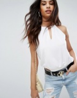 Versace Jeans Chain Detail Cut Out Top White. Sleeveless tops   keyhole front   cut out   casual designer fashion