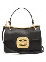 MIU MIU Waved-frame black grained-leather shoulder bag ~ chic top handle bags ~ luxury designer handbags ~ luxe shoulder bag ~ gold tone hardware