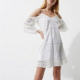 River Island White broderie cold shoulder swing dress ~ strappy summer dresses ~ feminine holiday fashion