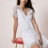 River Island White dobby mesh tiered short sleeve dress ~ feminine summer dresses ~ semi sheer
