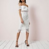 River Island White lace bardot bodycon dress ~ off the shoulder evening dresses ~ special occasion ~ feminine party fashion