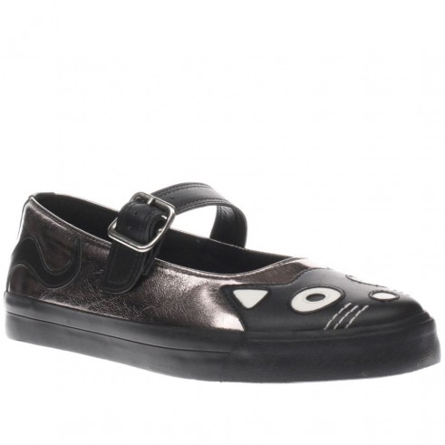 t.u.k black & silver vlk mary jane kitty sneaker flats. Vegan friendly flat shoes | cat face Mary Janes