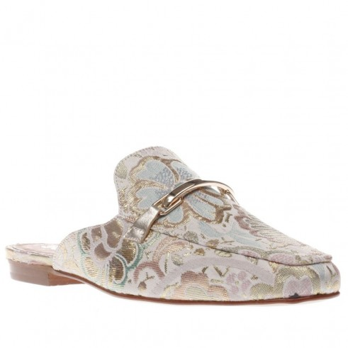 schuh pale pink ritzy flats. Flat backless loafers | luxe open back fabric loafers | floral embroidered flats | chic flat shoes