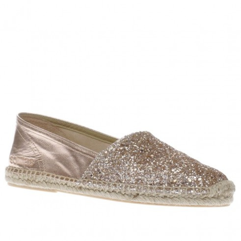 solillas rose gold espadrille flats. Glitter embellished leather espadrilles | summer flats | luxe flat holiday shoes