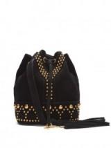 SAINT LAURENT Y-Studs black suede bucket bag ~ stud embellished designer shoulder bags ~ boho luxe ~ studded handbags
