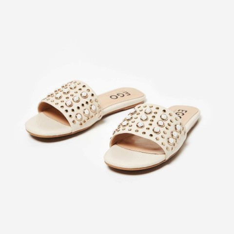 EGO Adella Pearl Slider In Nude Faux Leather – pale pink luxe style slides – embellished summer flats – flat holiday shoes