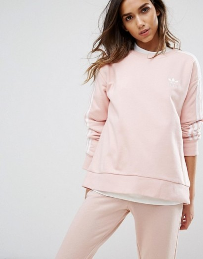 adidas Originals Pink Three Stripe Sweatshirt – sweatshirts – sportswear – sports tops