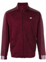 Kourtney Kardashian style ~ ADIDAS ORIGINALS BY ALEXANDER WANG jacquard track jacket maroon, as worn by the reality star visiting Planned Parenthood in Los Angeles, posted on Instgram, May 2017. Celebrity fashion | sports jackets