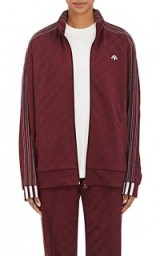ADIDAS ORIGINALS BY ALEXANDER WANG Logo Track Jacket burgundy/red, as worn by Kourtney Kardashian visiting Planned Parenthood in Los Angeles, posted on Instgram, May 2017. Celebrity sports gear | casual star style jackets