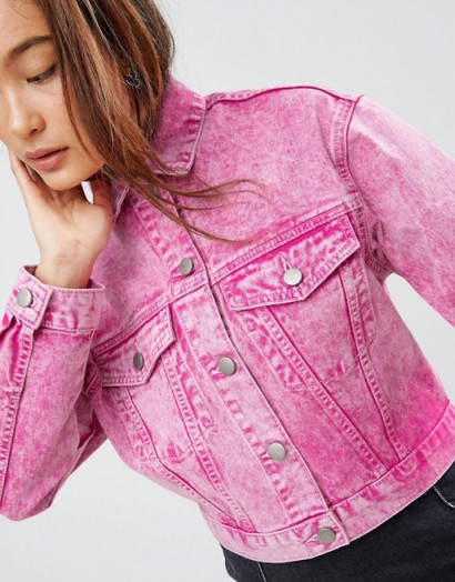 ASOS Denim Jacket in Washed Pink