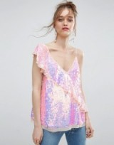 ASOS One Shoulder Ruffle Cami in Sequin ~ glamorous pink camisoles ~ glitzy sequinned tops ~ ruffled