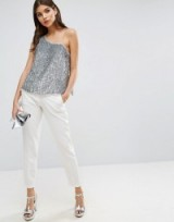 ASOS One Shoulder top in Sequin ~ glamorous silver sequinned tops ~ glamour and glitz