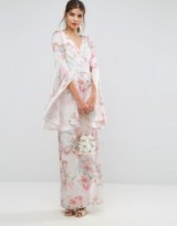 ASOS Soft Floral Sleeved Drape Maxi Dress. Long Oriental style dresses | occasion fashion