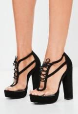 missguided black perspex panel lace up platforms – block heel platform shoes ~ block high heels