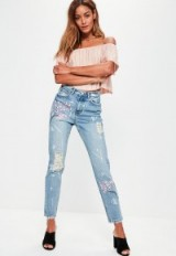 missguided blue riot floral paint splat stonewash jeans ~ splatter denim ~ cherry blossom ~ summer fashion