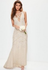 missguided bridal nude strappy front embellished maxi dress ~ wedding dresses