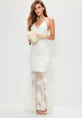 missguided bridal white strappy lace maxi dress ~ affordable wedding dresses