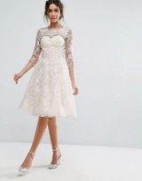 Chi Chi London Lace Midi Dress With Scallop V Back ~ cream wedding dresses ~ bridal fit and flare ~ affordable ~ on a budget ~ feminine