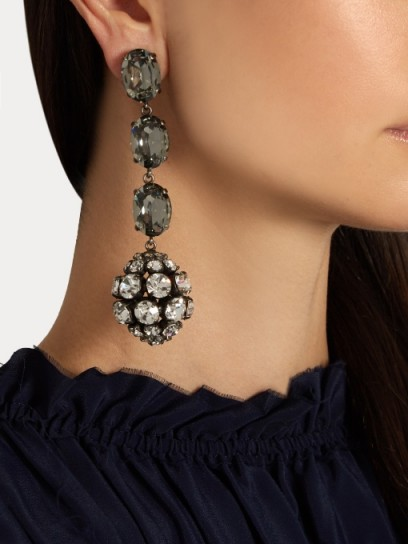 crystal sphere-shaped drop earrings