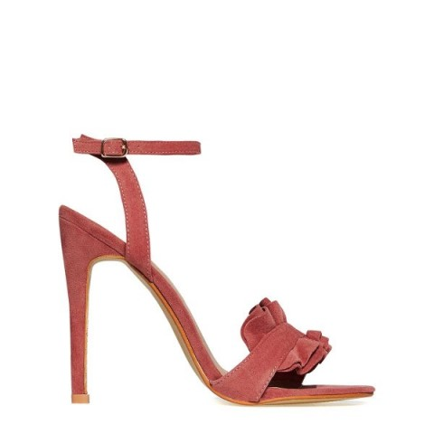 EGO Eden Frill Detail Heel In Blush Faux Suede – pink strappy high heels – stiletto heeled sandals – ruffle front shoes