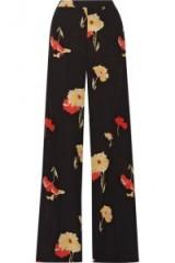 ETRO Printed silk-crepe wide-leg pants. Wide leg floral print trousers   designer fashion