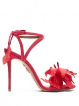 AQUAZZURA Flora suede sandals – bright pink floral high heels – ankle tie stiletto heeled shoes – designer footwear