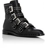 GIVENCHY K-Line Leather Boots. Black studded ankle boots   designer flat booties   biker buckle strap bootie   stud embellished flats