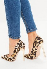 missguided gold leopard shimmer pointed court shoes ~ glamorous animal prints ~ high heeled courts ~ stiletto heels