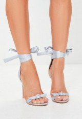 missguided grey bow t bar sandals ~ barely there ankle wrap shoes ~ stiletto high heels