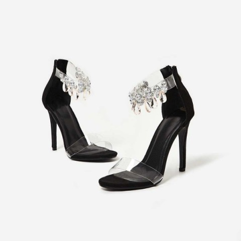 EGO Jewel Gem Embellished Perspex Heel In Black Faux Suede – party heels – stiletto heeled sandals – clear ankle strap evening shoes