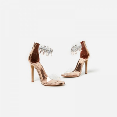 EGO Jewel Gem Embellished Perspex Heel In Rose Gold Faux Leather – high heeled party shoes – stiletto heel sandals – jewel ankle strap – metallic pink