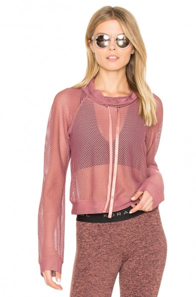 KORAL PUMP PULLOVER ROSE GOLD. Sheer mesh tops | sports luxe | chic sportswear | sport fashion