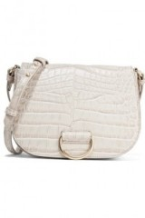 LITTLE LIFFNER D Saddle medium croc-effect leather shoulder bag – beige crossbody bags – stylish handbags