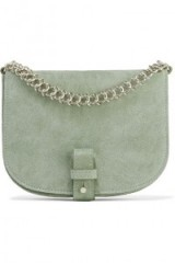 LITTLE LIFFNER Saddle Up small suede shoulder bag – stylish mint-green handbags – chic crossbody bags – silver chain embellishment
