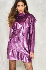 NASTY GAL LOVE IS A BATTLEFIELD RUFFLE DRESS – purple sequin party dresses – ruffled evening fashion – long sleeve/high neck