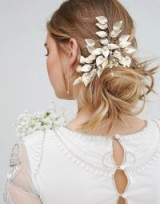 Love Rocks Leaf & Faux Pearl Cluster Comb ~ gold bridal hair accessories ~ floral accessory ~ wedding hair combs