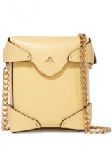 MANU ATELIER Pristine micro leather shoulder bag – small luxe yellow crossbody bags / gold chain strap mini handbags