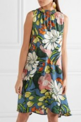 MARNI Floral-print silk dress ~ bold flower prints ~ sleeveless designer dresses ~ gathered high neck
