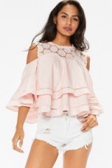 MissPap Meaghan Pink Layered Crochet Bell Sleeved Top – cold shoulder ruffle tops – ruffled summer fashion – feminine