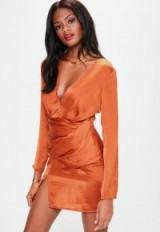 missguided orange silky long sleeve panelled dress ~ plunge front mini dresses ~ party fashion
